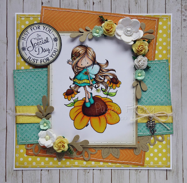 Sunny floral fairy card using Echo Park papers, embellishments from The Ribbon Girl and Fairy sunny day digi image from Tiddly Inks