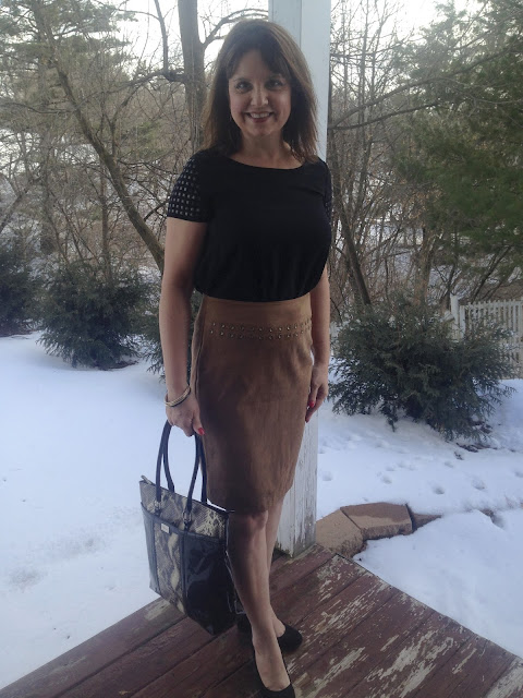 Amy's Creative Pursuits: How To Style a Brown Suede Skirt
