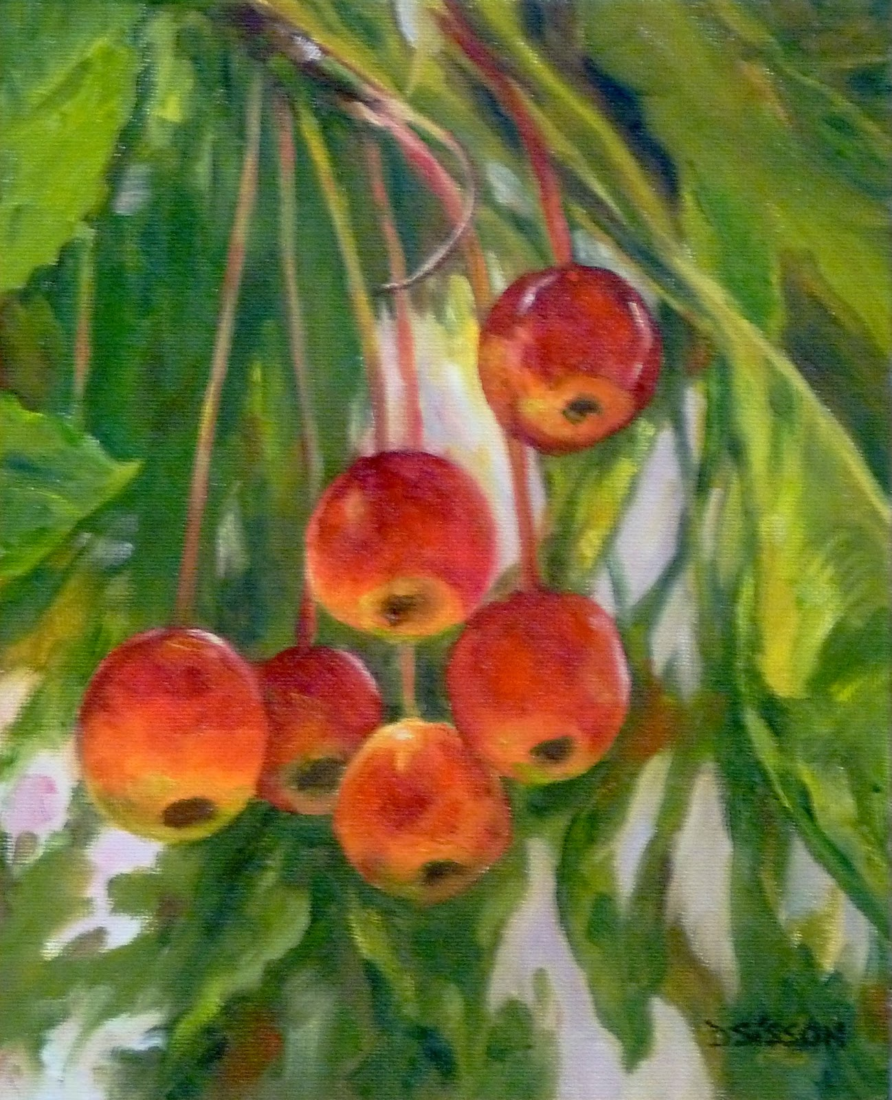 Daily Painting Projects Cherries On A Tree Oil Still Life