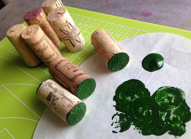 paint ends of recycled wine corks