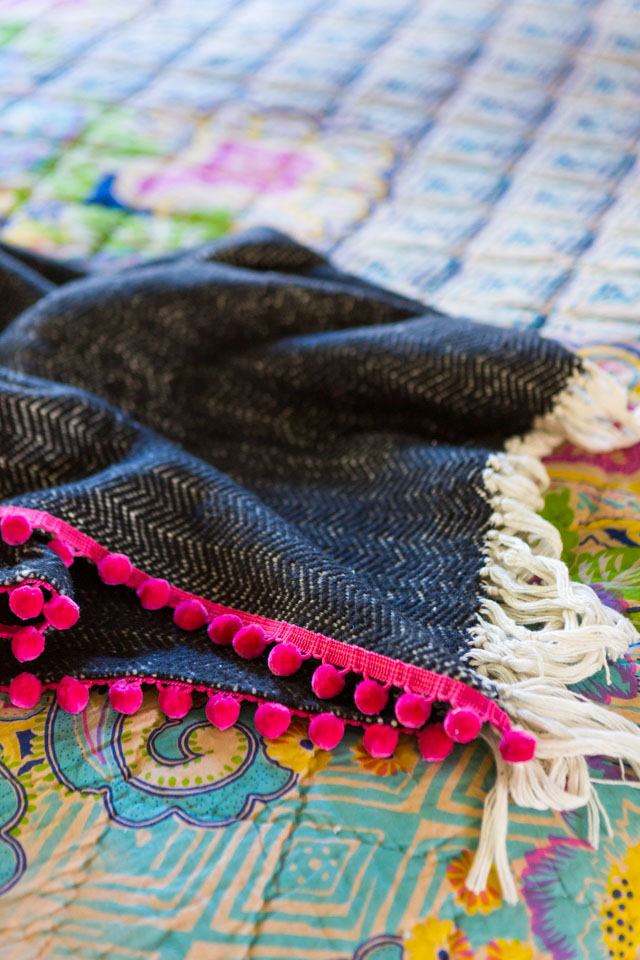 How to add pom-pom fringe to a throw