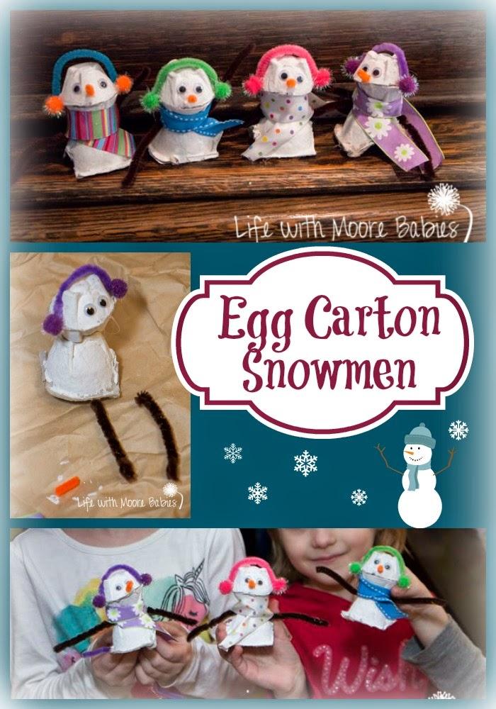 Turn Egg Cartons into Adorable Snowman