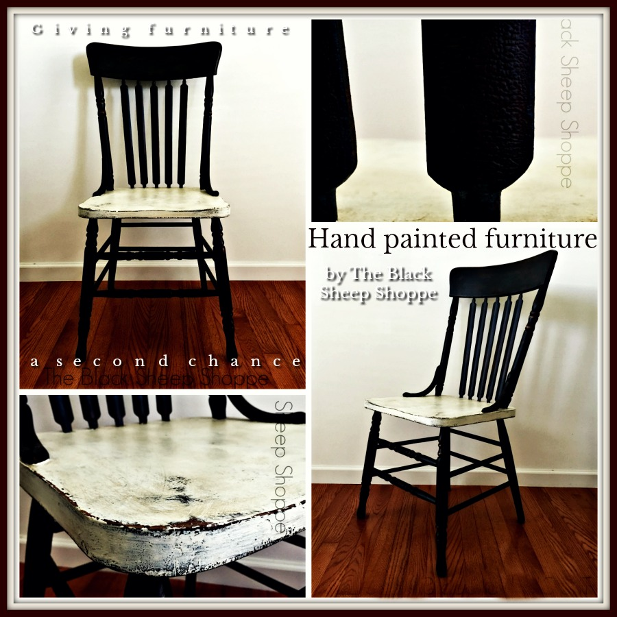 Vintage chair painted in Old White and Graphite Annie Sloan Chalk Paint by The Black Sheep Shoppe.