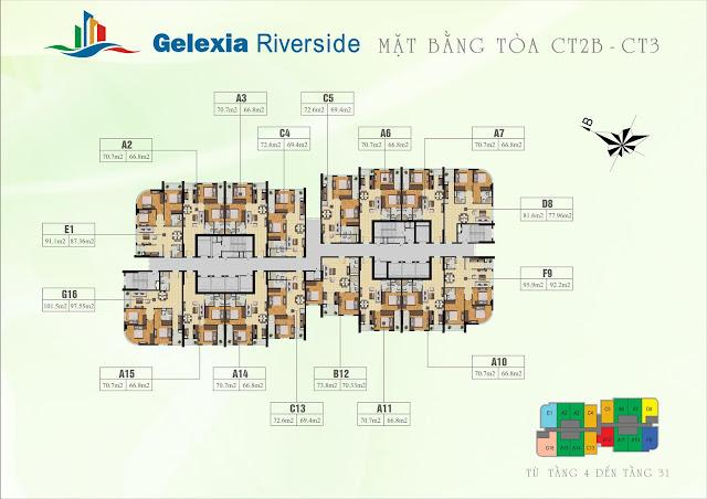 Mặt bằng thiết kế và bố trí căn hộ trong tòa CT2B CT3