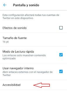 boton de acceso a la accesibilidad en Twitter