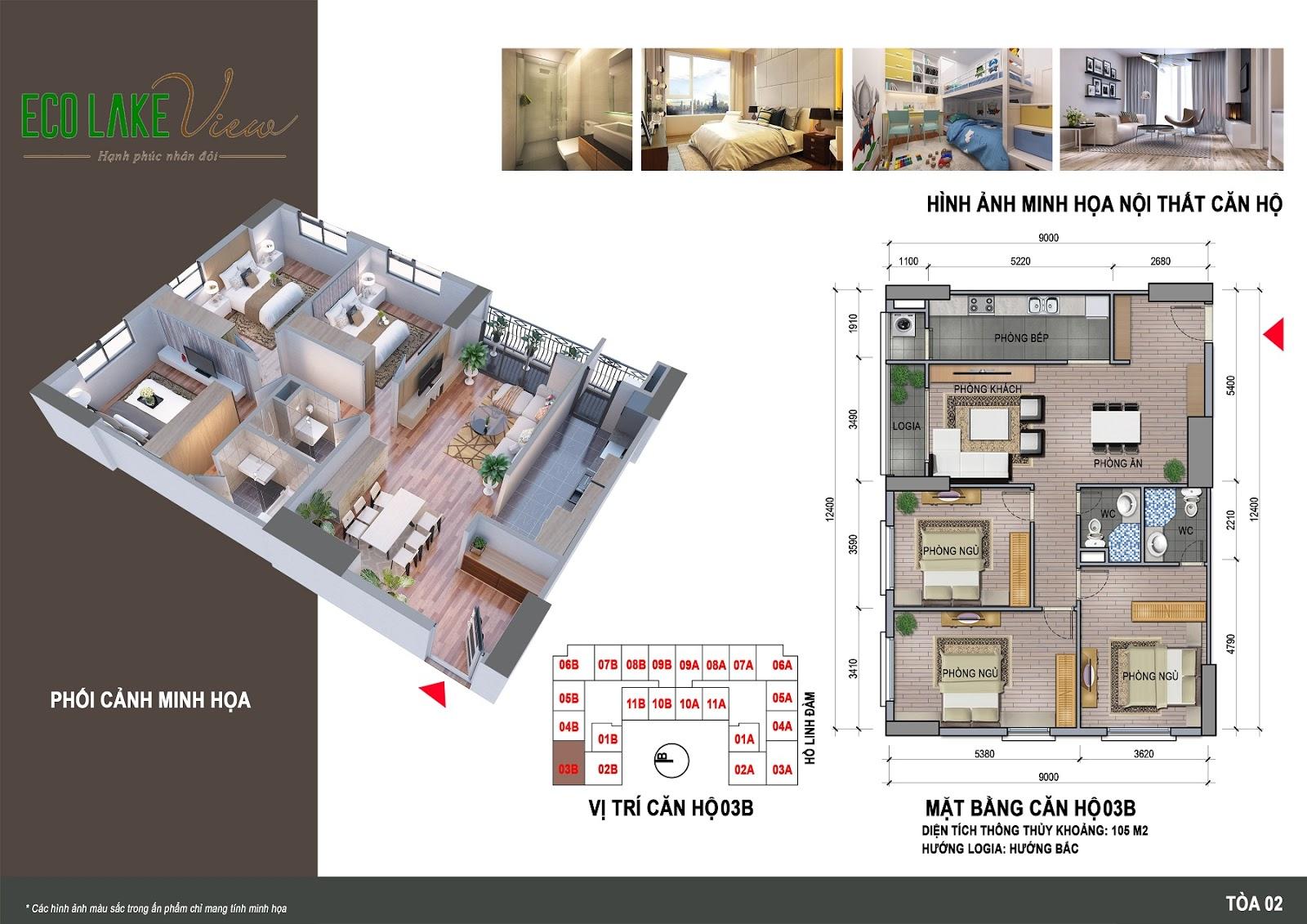 Thiết kế căn hộ 03B - 105m - HH02 Eco Lake View