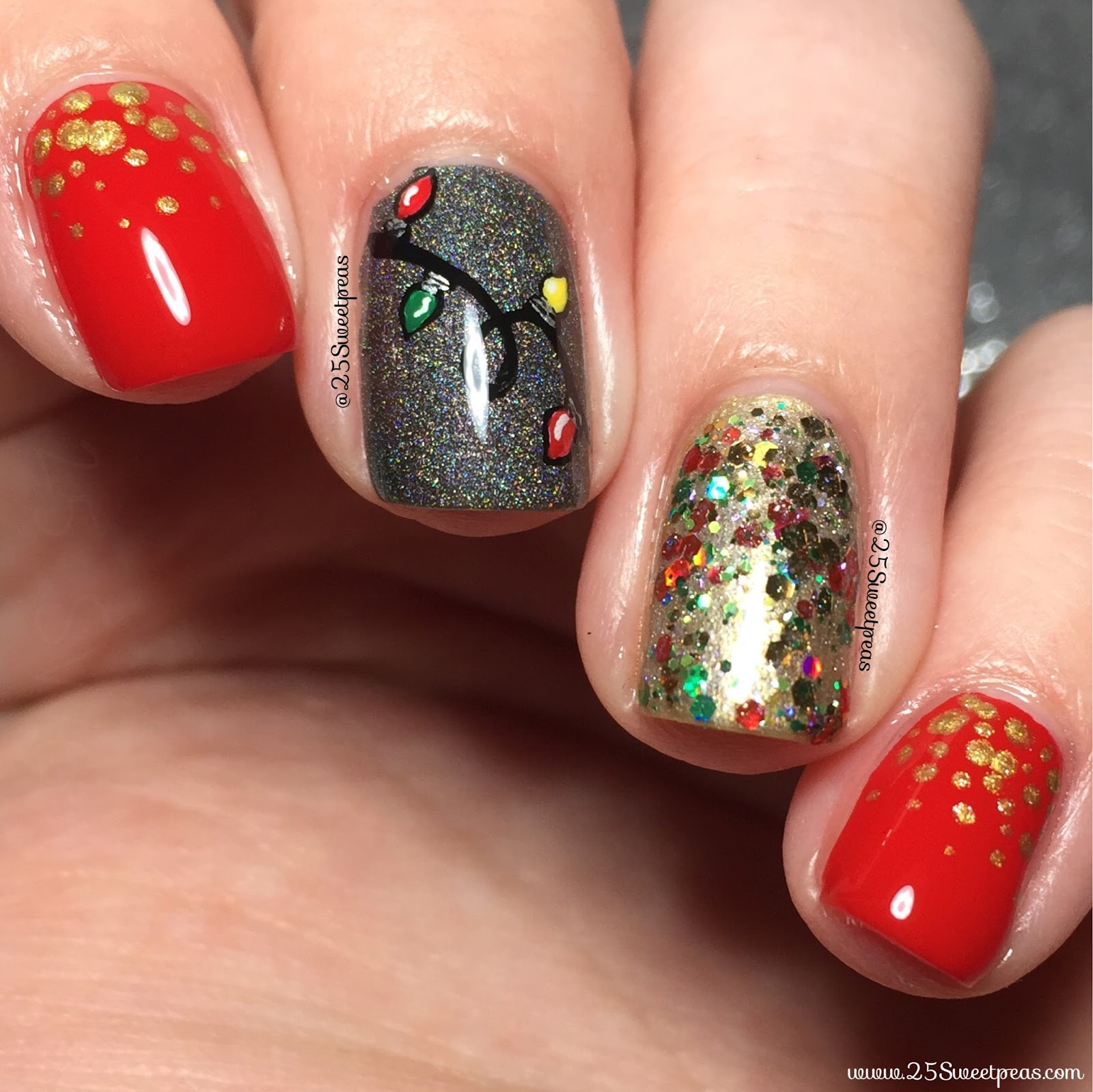 Christmas Lights Nails Pinterest: Christmas Lights Nails
