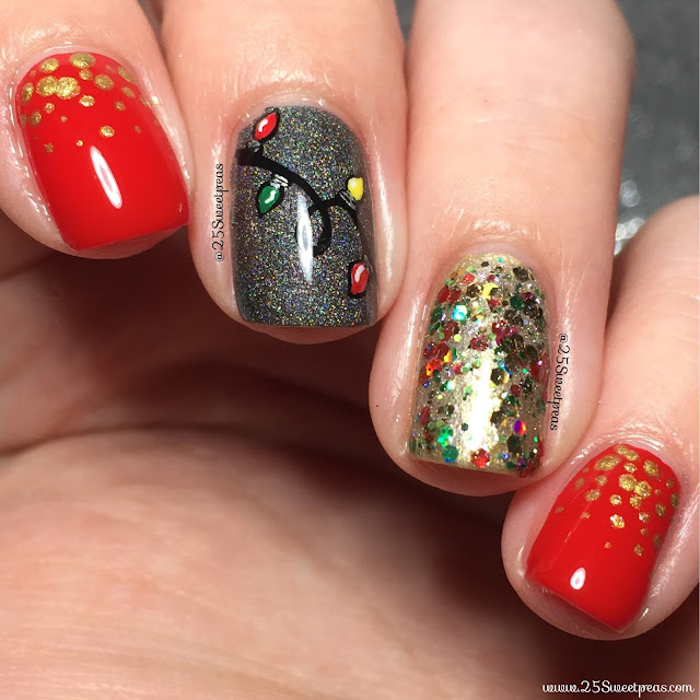 the red is big red bow by serendipity nail polish the gold is glitzy gold champagne also by them as it the black holo ce0000000