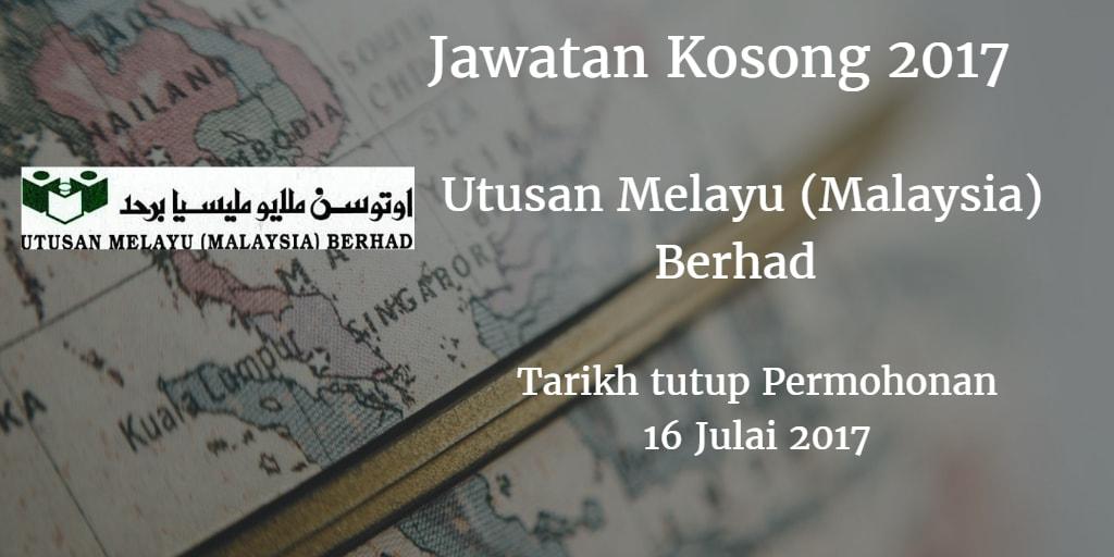 Jawatan Kosong Utusan Melayu (Malaysia) Berhad 16 Julai 2017