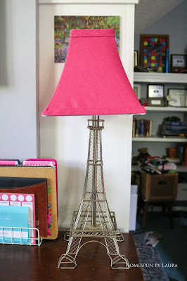 One Room Challenge Week 6 Home Office Sewing Craft Room Transformation DIY lampshade recover eiffel tower lamp