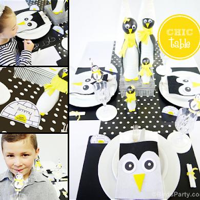 Table de Noël Moderne Pingouins en Noir & Blanc