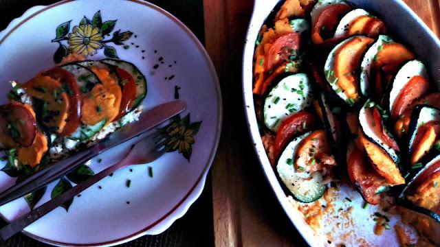 Tian zapiekanka z warzyw na ryżowym spodzie