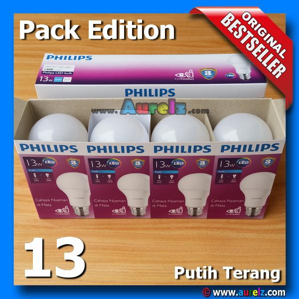 lampu led philips 13 watt cool daylight / putih terang beli 3 gratis 1 edisi unicef pack edition