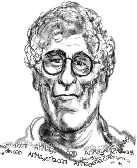 Elliott Gould caricature cartoon. Portrait drawing by caricaturist Artmagenta.
