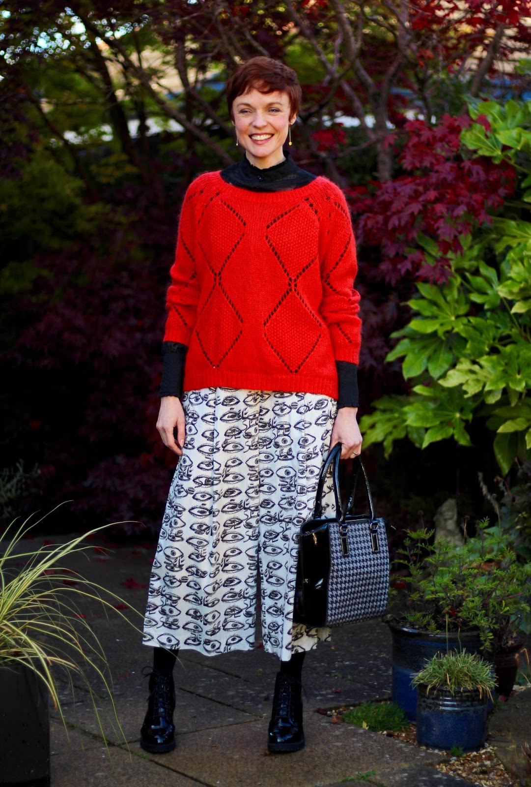 Wearing Culottes in Autumn | Tights & Boots | Fake Fabulous, over 40.