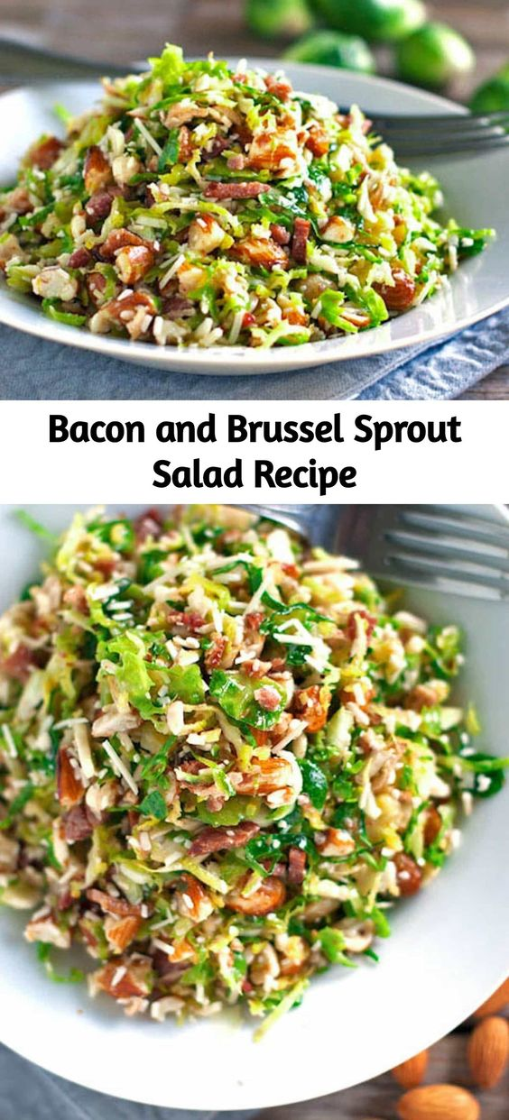 This bacon and brussel sprout salad is so good! Thinly sliced brussel sprouts, crumbled bacon, Parmesan, almonds, and shallot citrus dressing.