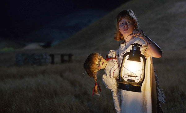Linda (Lulu Wilson) attempts to get rid of the Annabelle doll in ANNABELLE: CREATION (2017)