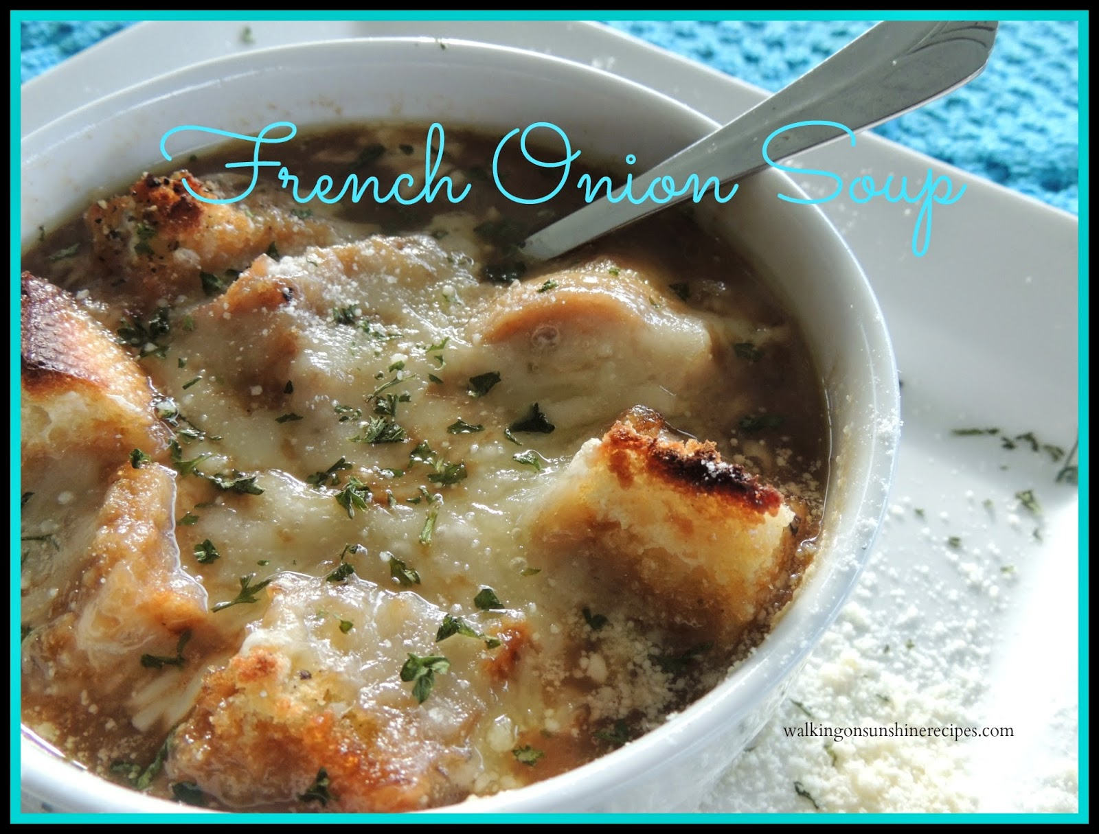 An easy and delicious recipe for French Onion Soup that will make you wonder why you only have it when you're eating in a restaurant.  The recipe is easy and it freezes well for leftovers from Walking on Sunshine Recipes.