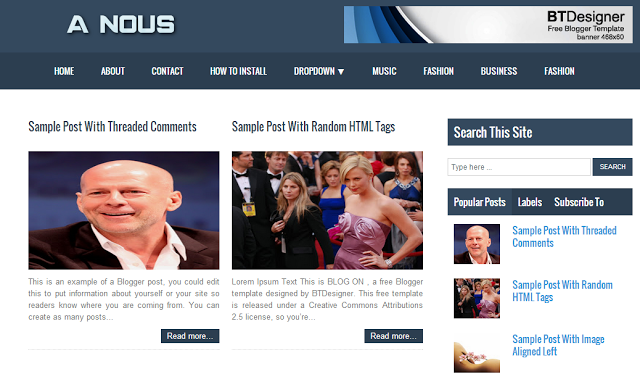 A nous magazine blogger template free