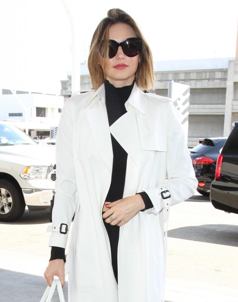 Miranda Kerr Wears Monochrome as She Arrives at LAX