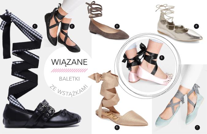 modne buty baletki z wiązaniami