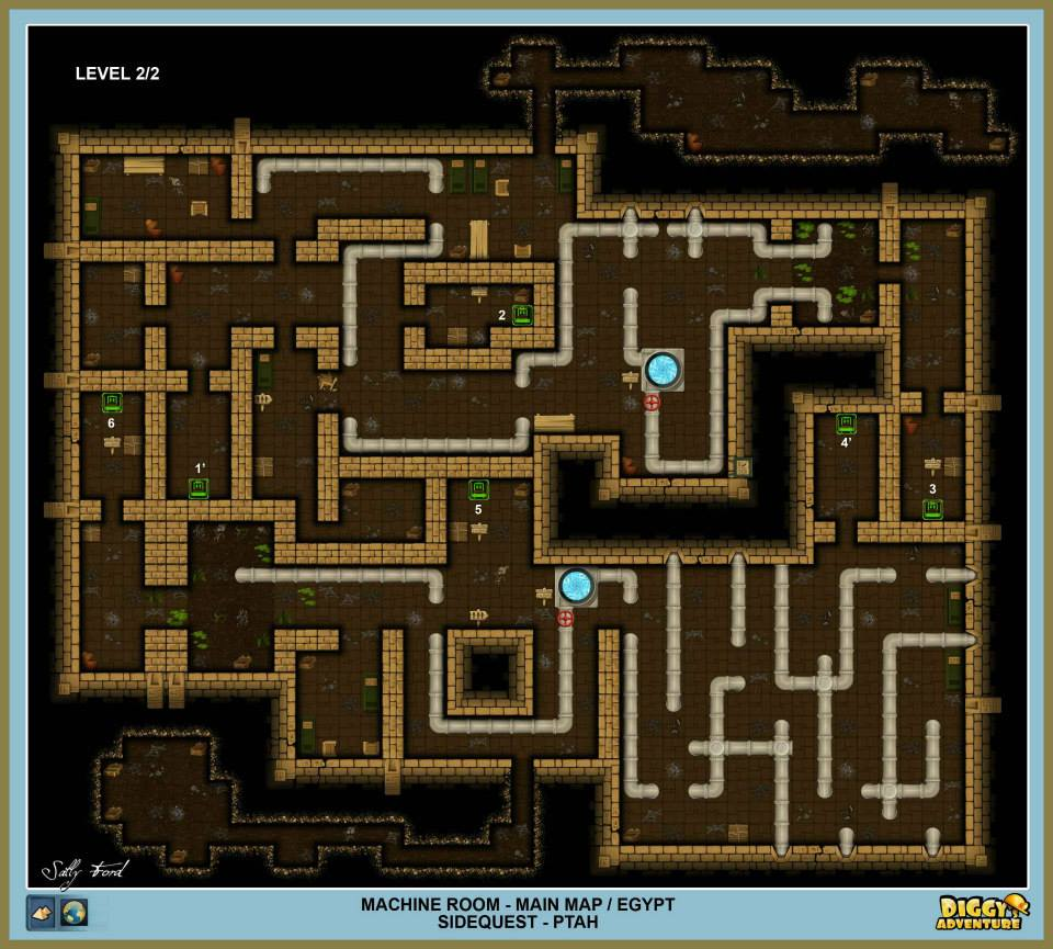 Diggy's Adventure Walkthrough: Egypt Main / Machine Room
