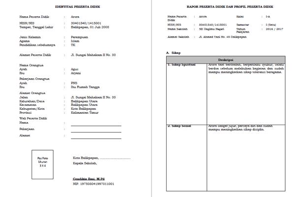 Format Raport SD Kurikulum 2013 Terbaru sesuai dengan Panduan Penilaian SD Kurikulum 2013 Edisi Revisi 2016