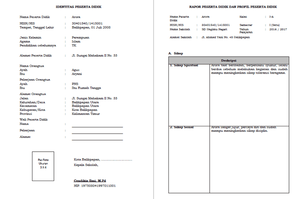 Berikut ini adalah berkas Format Raport SD Kurikulum  Format Raport SD Kurikulum 2013 Terbaru