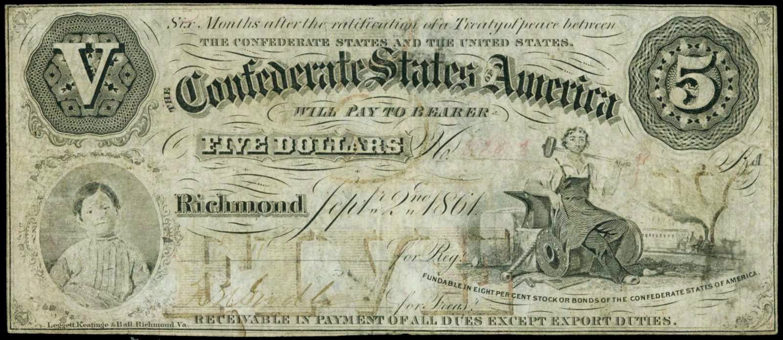 Confederate Currency 1861 5 Dollar Bill boy CSA T-32