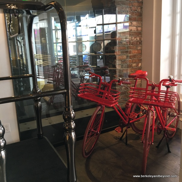 red loaner bikes at Hotel Zeppelin in San Francisco, California