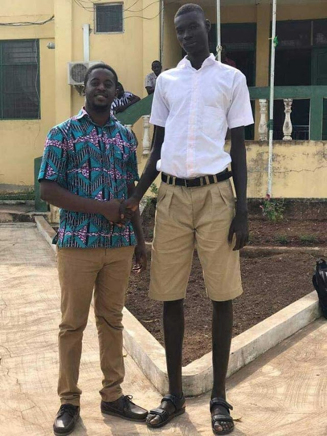 Meet The Tallest Student In Ghana, He Is Just 14 Years Old.