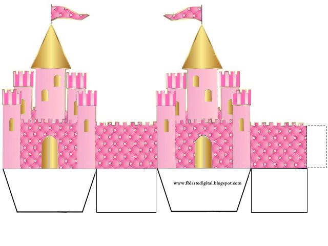 Corona Dorada en Fondo Rosa con Brillantes: Caja con Forma de Castillo para Recuerdos de Fiesta de 15 Años para Imprimir Gratis.