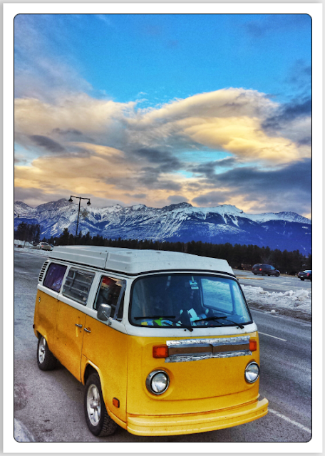 Volkswagen Type 2 Westfalia bus in Jasper, Rocky mountains, Canada