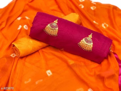 Chanderi Silk Blend With Polyester Suits & Dress Materials | Cod - cash on delivery available