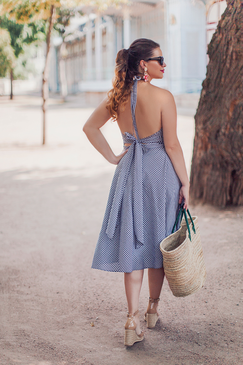 ASOS Gingham Picnic Sundress with Tie Back Detail