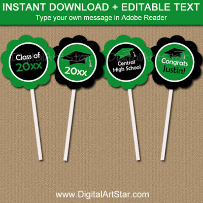 printable kelly green and black graduation cupcake toppers with editable text