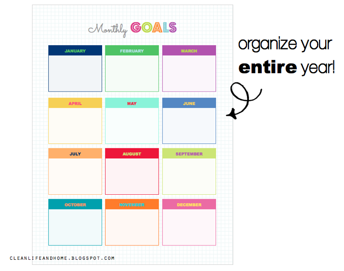 Clean Life and Home: Freebie: Monthly Goals Planner!