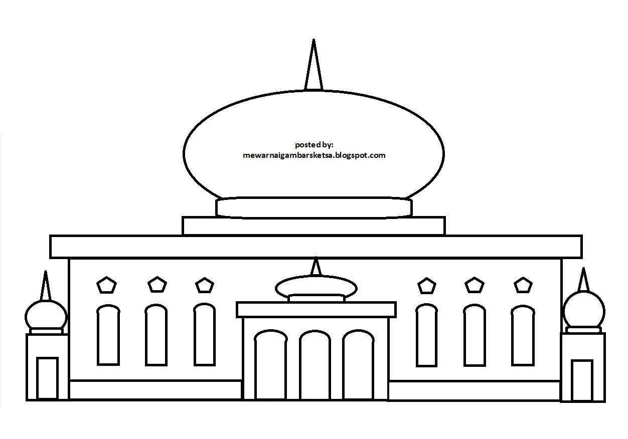 Mewarnai Gambar Sketsa Masjid 39