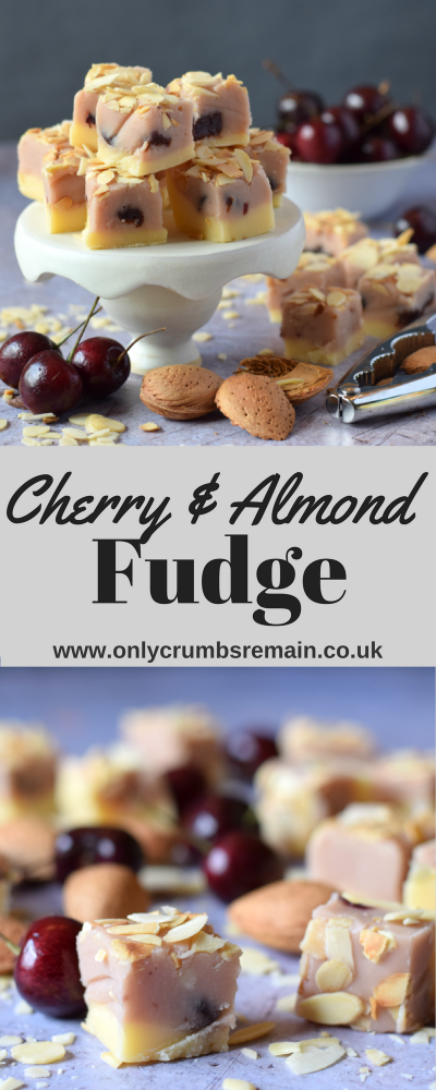 This homemade Cherry & Almond Fudge recipe, made using the traditional boiling method, has flavours reminiscent of the classic Bakewell Tart and frangipane.The confectionery has a pretty two tone colour sceme and is topped with toasted flaked almonds.