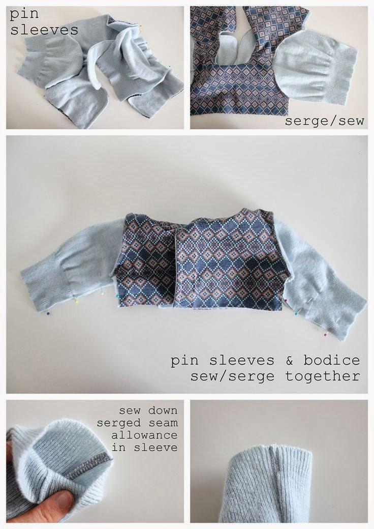 tutorial y patrón para hacer un abrigo de bebé con un jersey reciclado