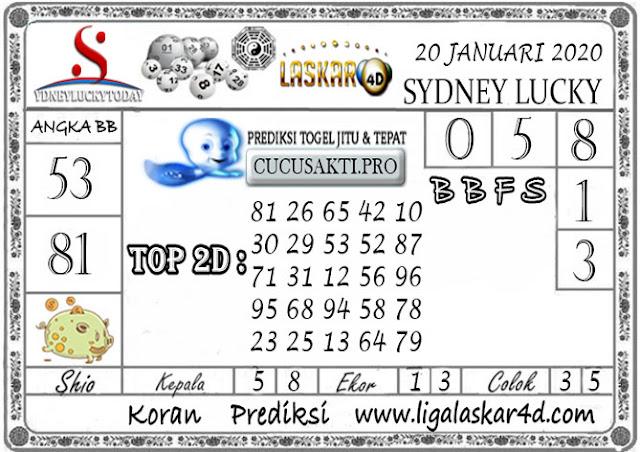 Prediksi Sydney Lucky Today LASKAR4D 20 JANUARI 2020