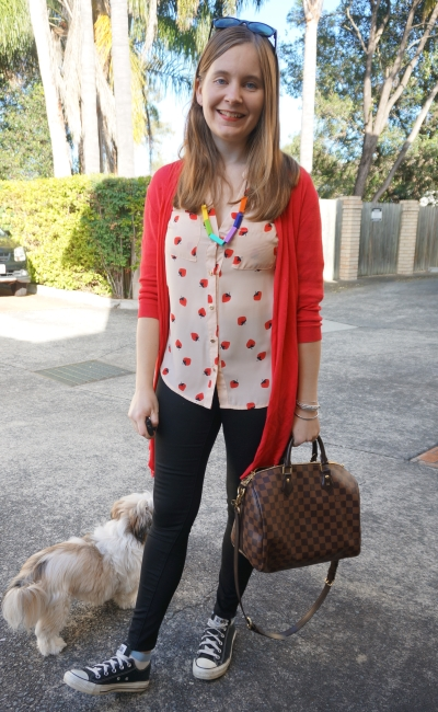 red cardi, strawberry print blush shirt, skinny jeans, converse LV bandouliere speedy | Away From Blue