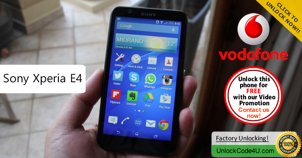 Factory Unlock Code Sony Xperia E4 from Vodafone