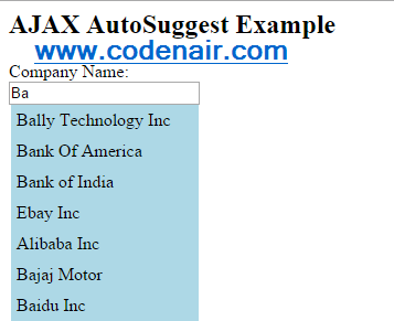 Ajax Auto Suggest Help of PHP,HTML and CSS