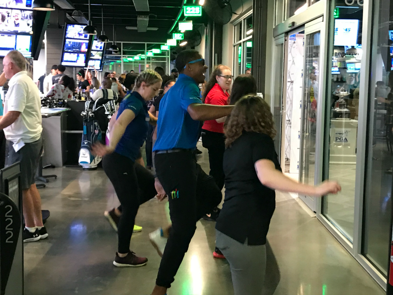 TOPGOLF Minneapolis staff dancing