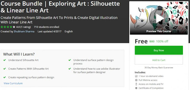 [100% Off] Course Bundle   Exploring Art : Silhouette & Linear Line Art  Worth 80$