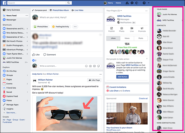 Barra laterale ID utenti amici Facebook