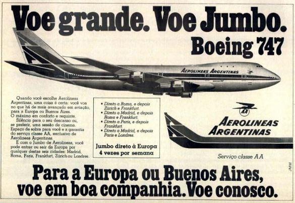 Campanha das Aerolineas Argentinas com novos voos para a Europa ou Buenos Aires no final dos anos 70