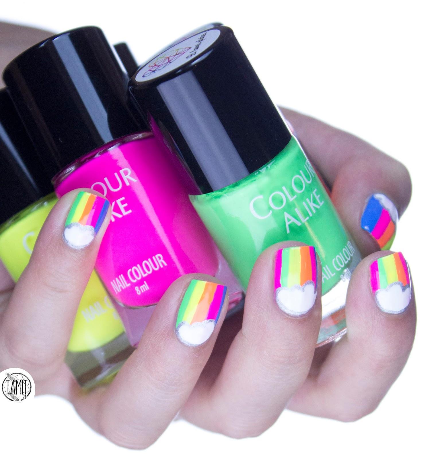 Neon rainbow nails: tutorial.   B. Loves Plates Neon Power.   fall ...