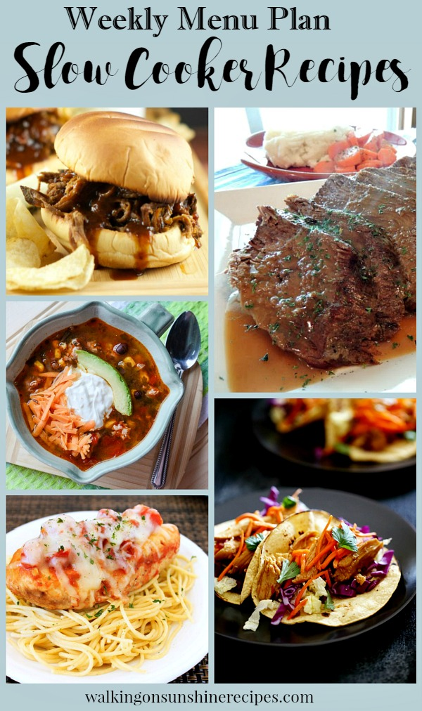 5 Delicious Slow Cooker Recipes for dinner this week as part of our Weekly Menu Plan featured on Walking on Sunshine.